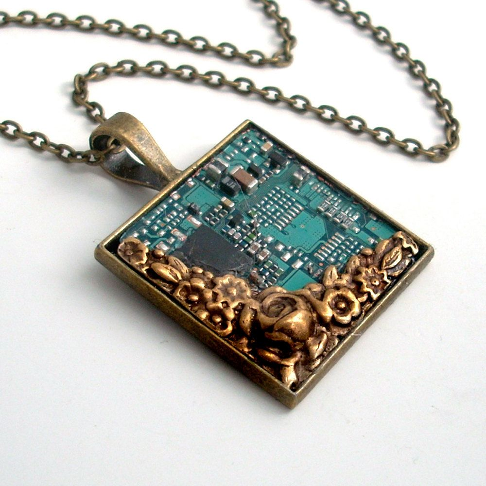 Unisex Circuit Board Necklace Industrial Techno Geek Steampunk Old Boards Upcycled Into Jewels Recycled Electronic Waste Handmade Jewelry 4800 Via Etsy