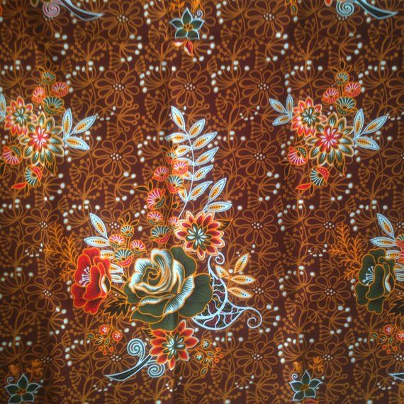 Brown Flowers Thai Traditional Print ,Thai Batik ,batik