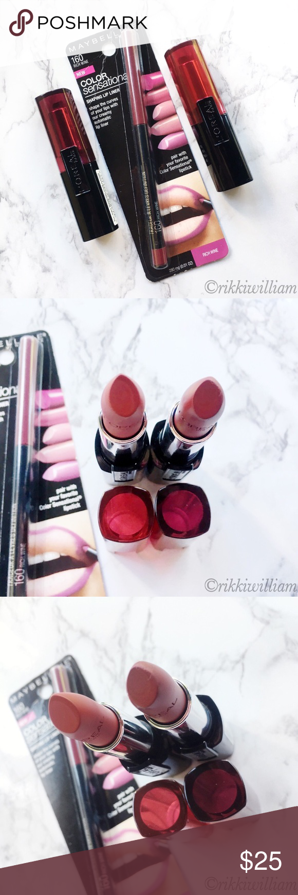 L'Oréal Lipstick X2 + Maybelline Lip Liner NWT (With