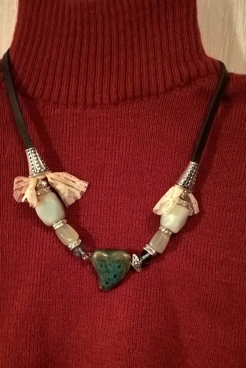 Leather and lace necklace. Free shipping by Chickenladyjewelry on Etsy