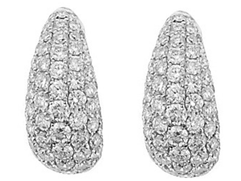 Curved Huggie Earrings with Pavé Set Diamonds in 18k White Gold #10533