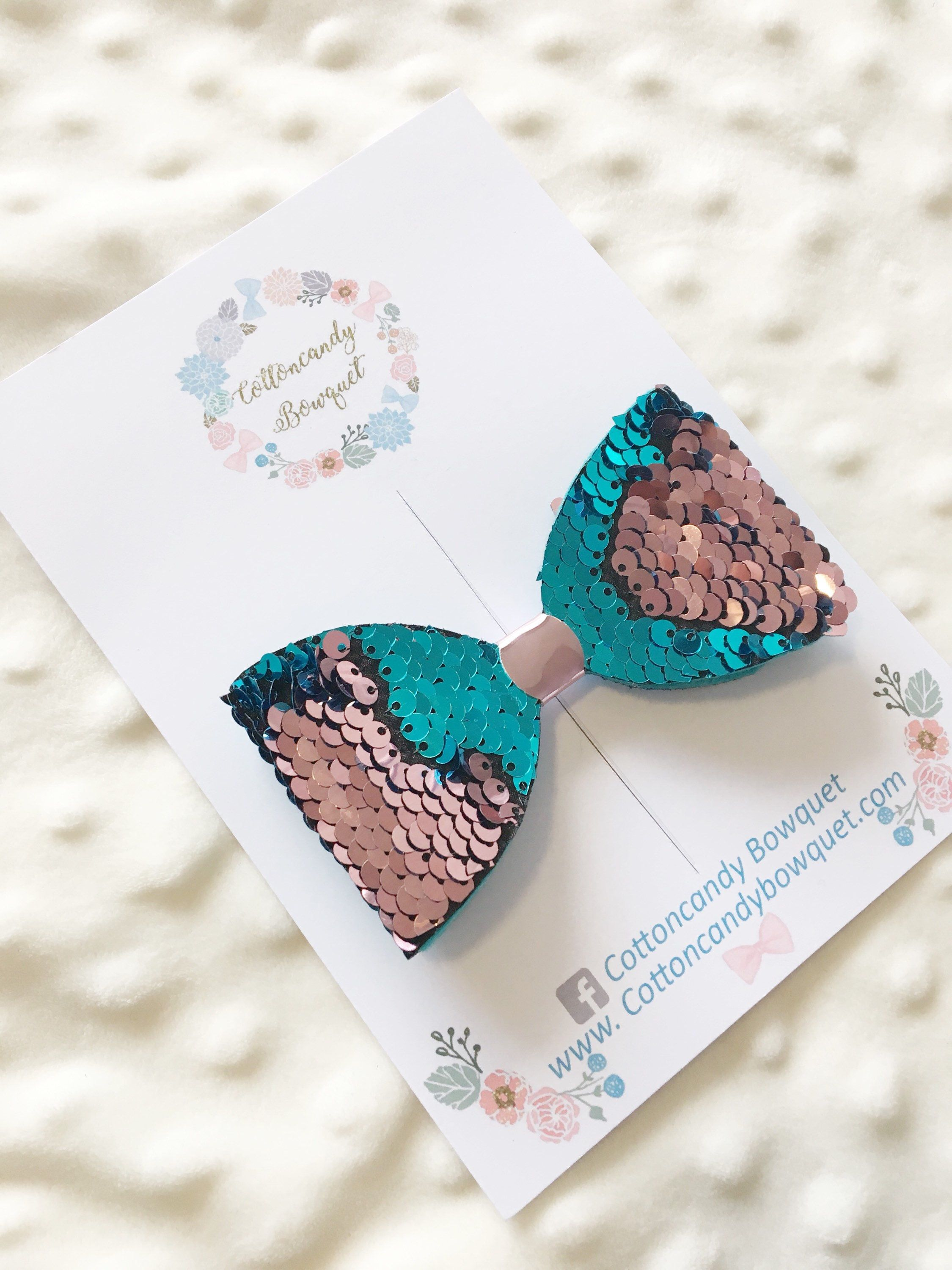 Colour Changing Sequin Hair Bow Turquoise Hair Bow Baby Headband