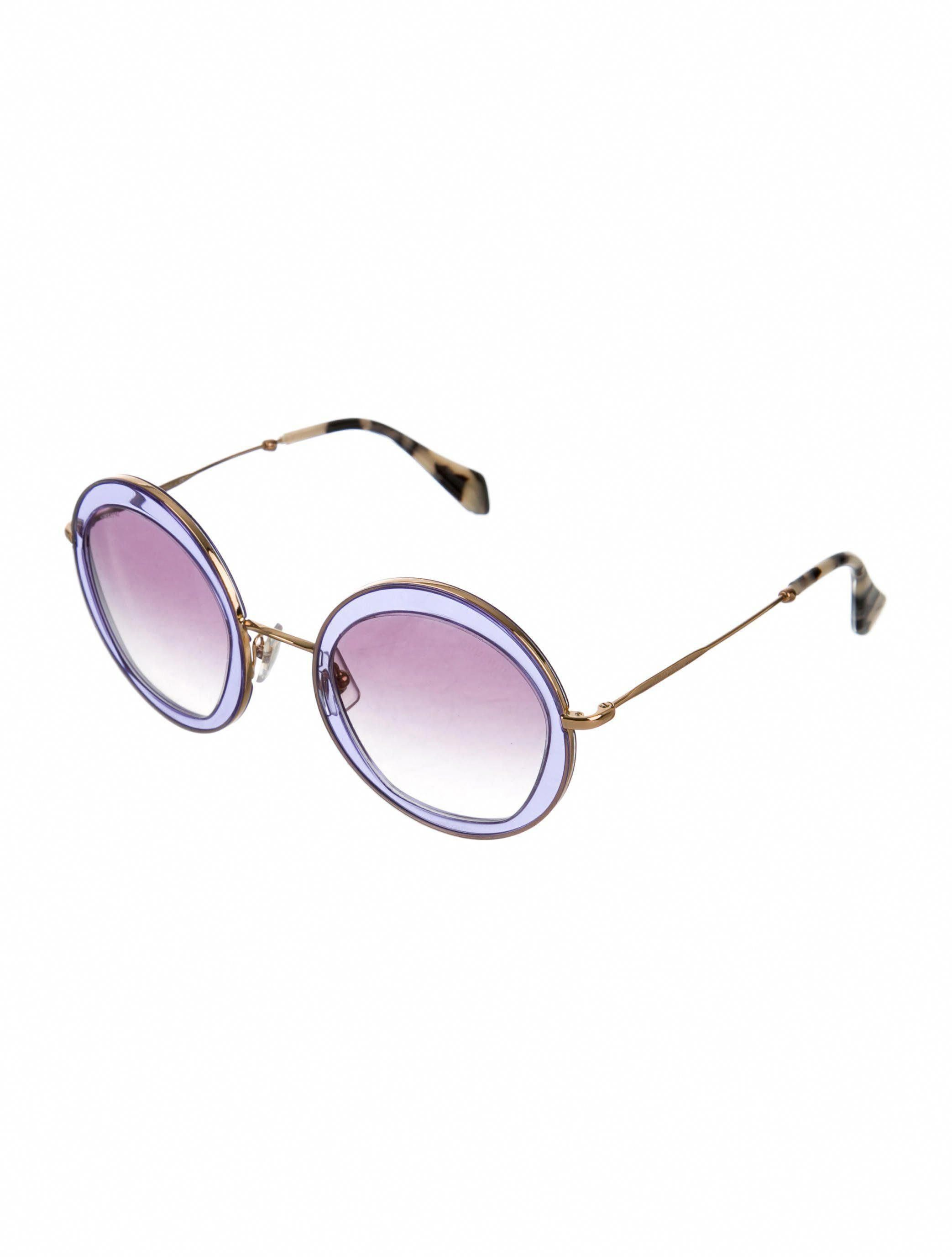 75ac05baa256 Gold-tone Miu Miu round sunglasses with tinted lenses featuring abstract  print at trim and logo at arms. Includes case and dust cloth.  MiuMiu