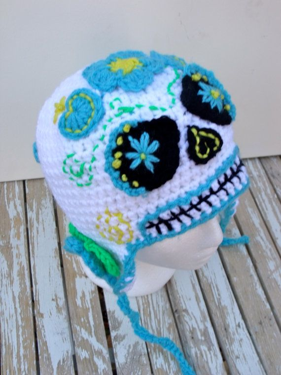 Sugar Skull Beanie Hat, Day of the Dead, Halloween, Dia de los ...