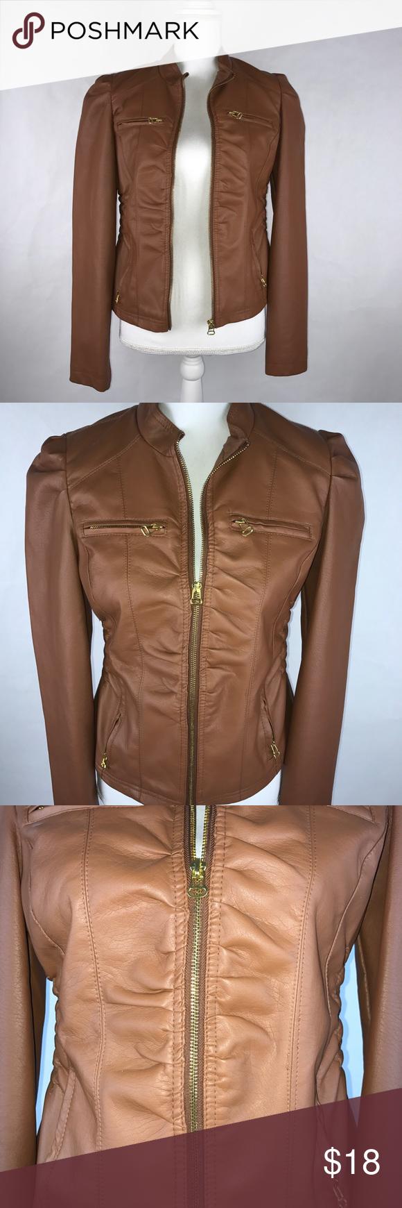 Brown Tan Faux Leather Fashion Jacket Size L Fashion