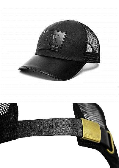95ab8d9c Hats 163543: Armani Exchange Cap Hat Black Leather Patch And Mesh One Size  Fits All Brand New -> BUY IT NOW ONLY: $120 on eBay!