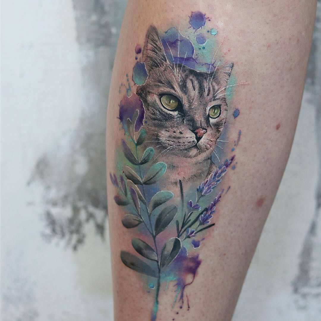 Maggie Paletta Watercolor Cat Tattoo Cat Tattoo Animal Lover Tattoo