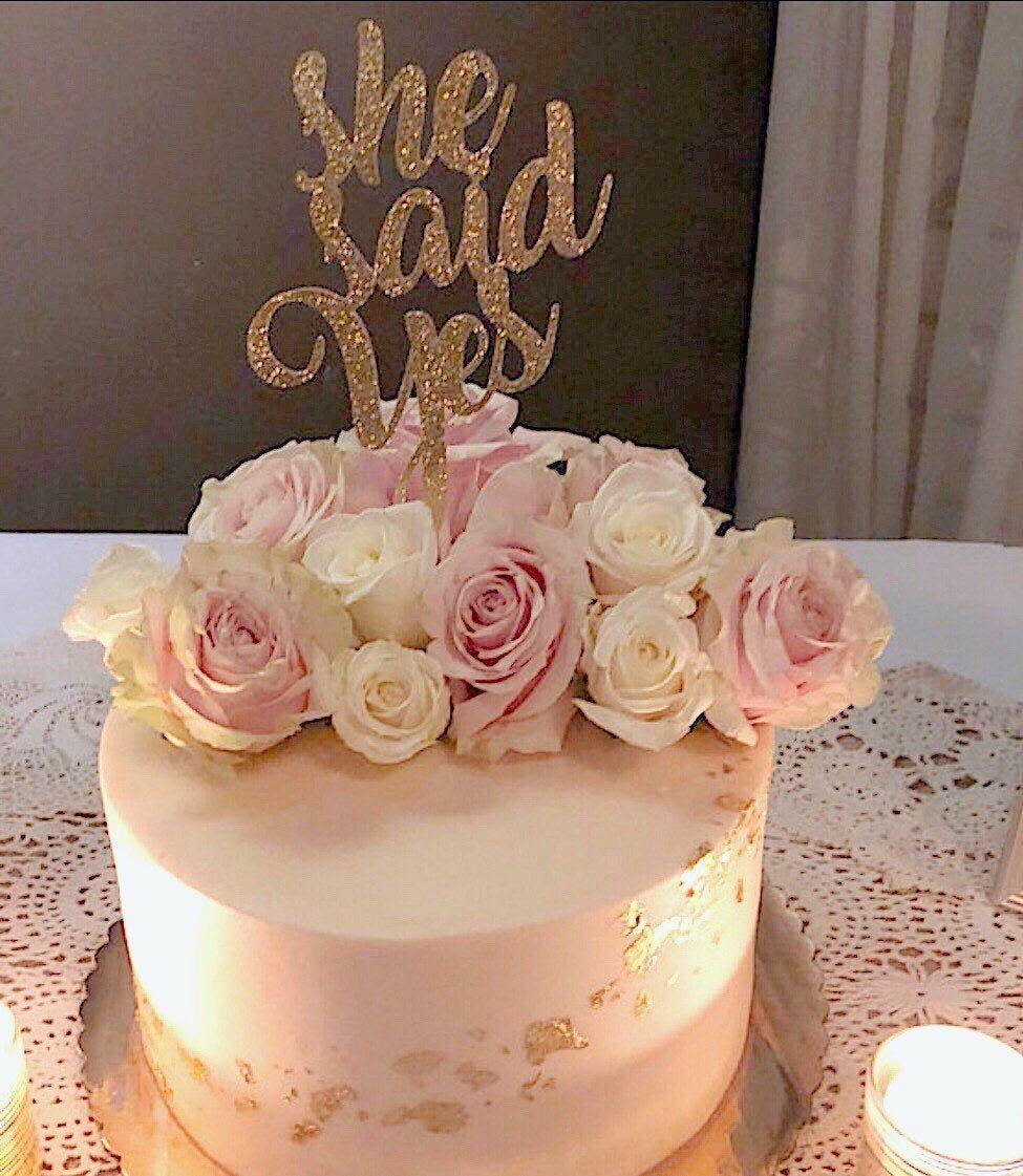 She Said Yes Cake Topper Bachelorette Party Cake Topper Bride