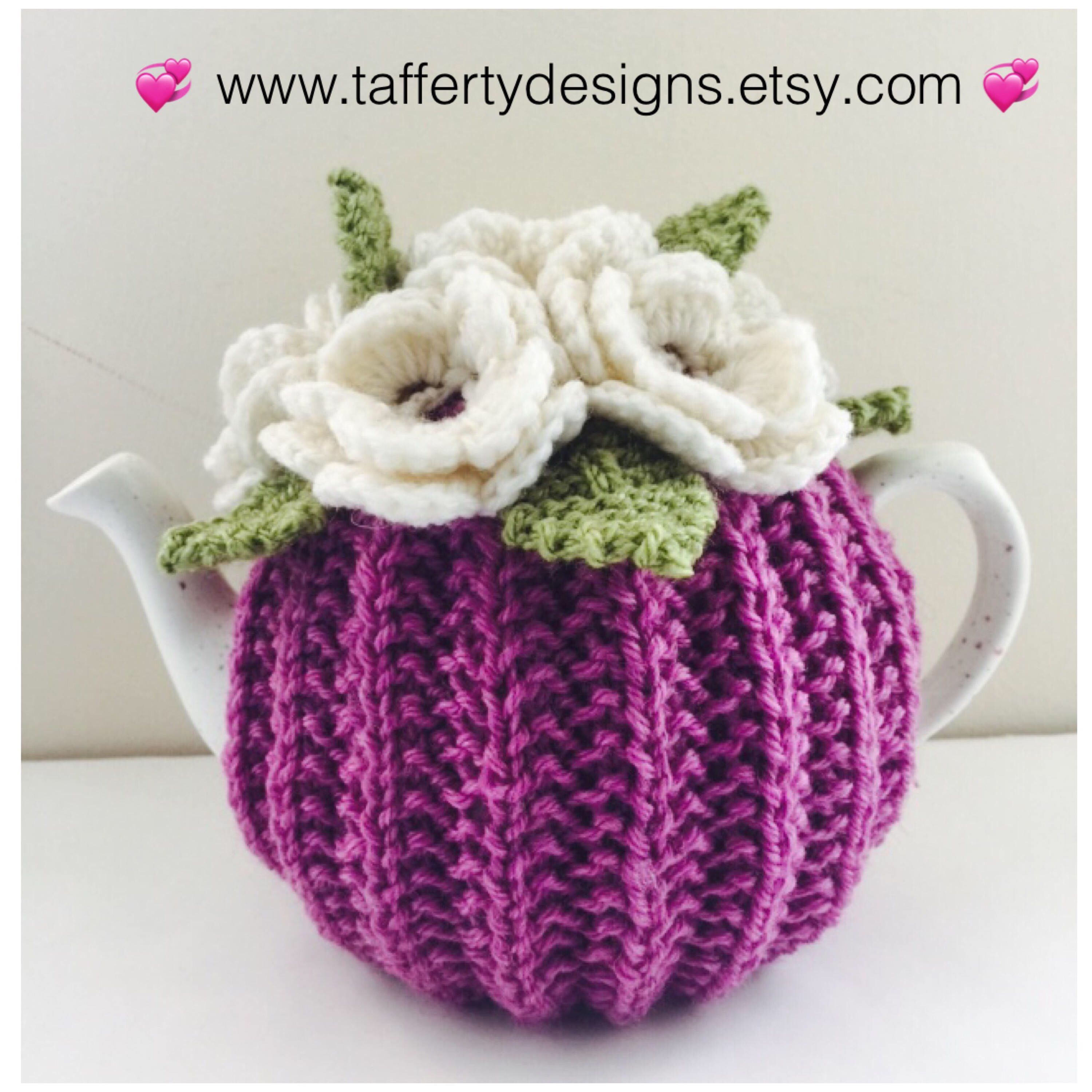 Hand knit Floral Tea Cosy - in Pure Wool - Size Small ...