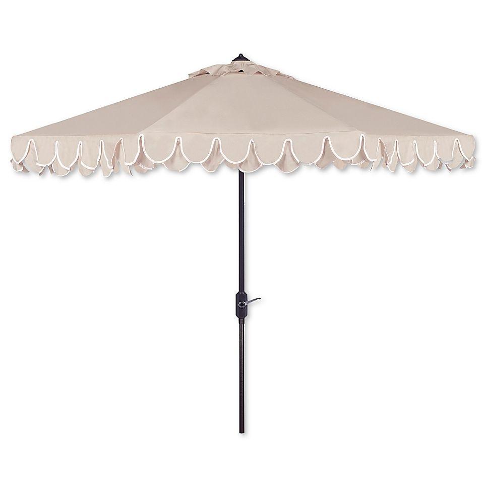 Safavieh Uv Resistant Elegant 9 Valance Umbrella In Beige White