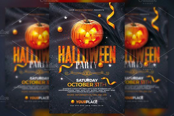 halloween party flyer template by rome creation on creativemarket