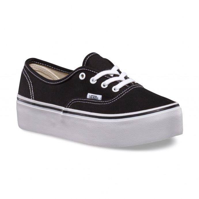 Vans Authentic Platform Shoes (Canvas) BlackTrue White