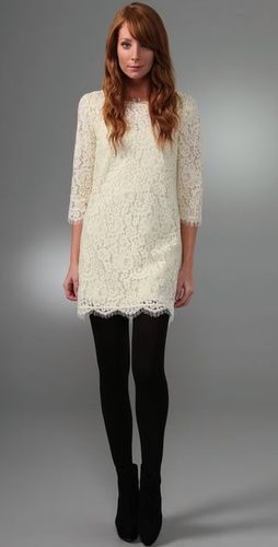 White Lace Dress with Leggings
