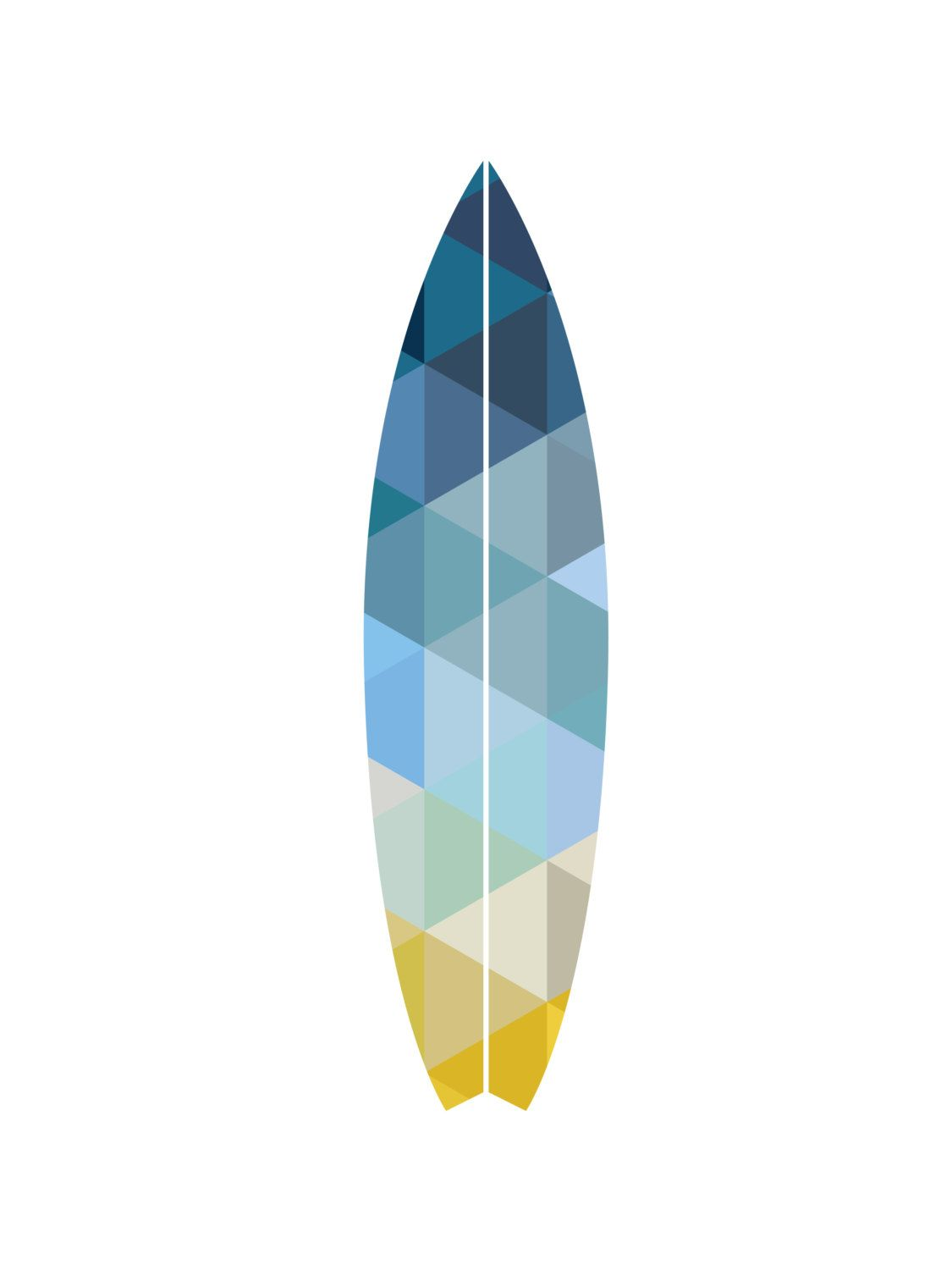 Surfboard Wall Print Summer Art Geometric by MelindaWoodDesigns