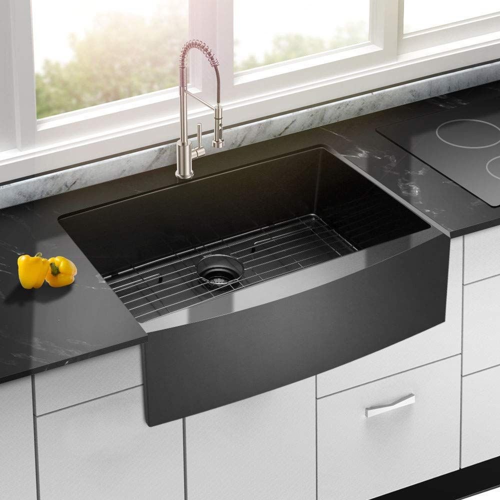 Best Black Farmhouse Sinks We Love Black Apron Front Sinks And All Sorts Of Farmhouse Sinks In Your Kit In 2020 Black Farmhouse Sink Stainless Steel Kitchen Sink Sink