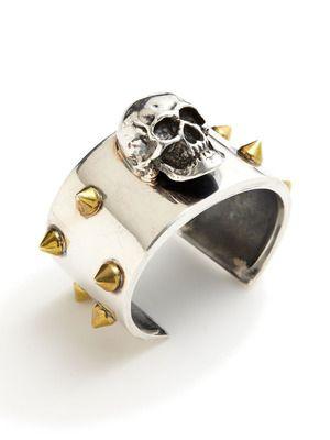 Tom Binns Gold Spike & Silver Skull Cuff