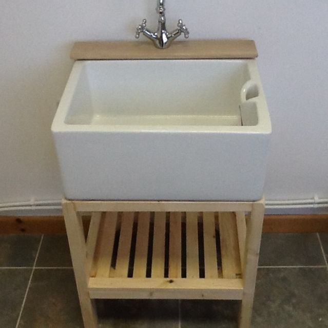 traditional wooden stand for belfast butler sink with tap ledge only 12999 ebay - Bathroom Utility Sink