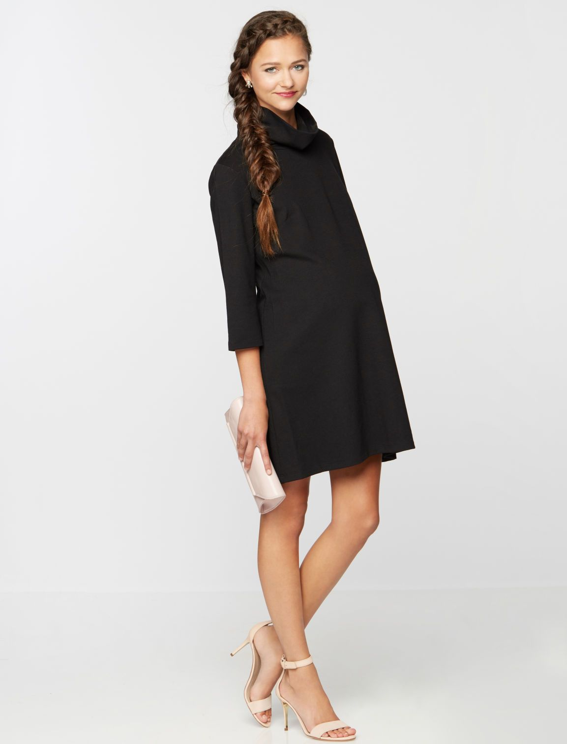 0d6684f0863c7 3/4 sleeve maternity dress by Isabella Oliver available at A Pea in the Pod  | Winter Maternity Essentials