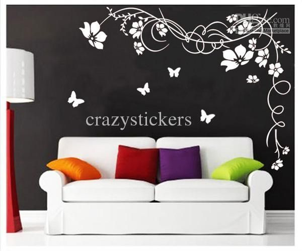 Large Butterfly Vine Flower Butterfly Wall Stickers Vinyl Art - Portal 2 wall decalsbest wall decals images on pinterest