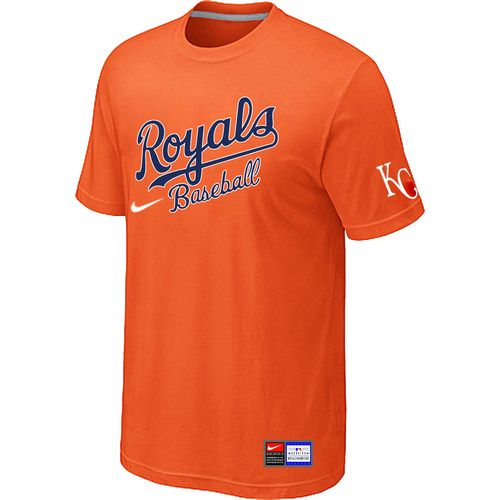 MLB Kansas City Royals Orange Nike Short Sleeve Practice T-Shirt ,  wholesale online $15.99