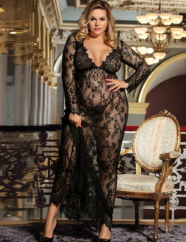 Dean Fast Women Plus Size Floral Lace Nightgown Long Lingerie Sleepwear  Chemise- Women Plus Size Women Lace Lingerie Set Sleepwear Wrap Sexy  Transparent ... 34b1115d9