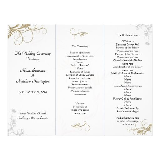 Floral Scrollwork Wedding Program Template  Program Template