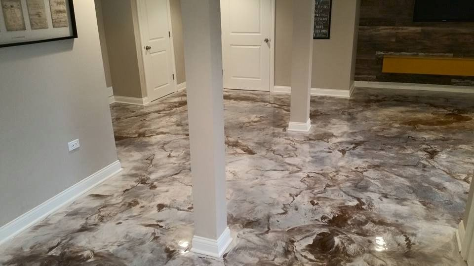 Interior Concrete Basement Floor Epoxy Reflector Metallic And Coffee