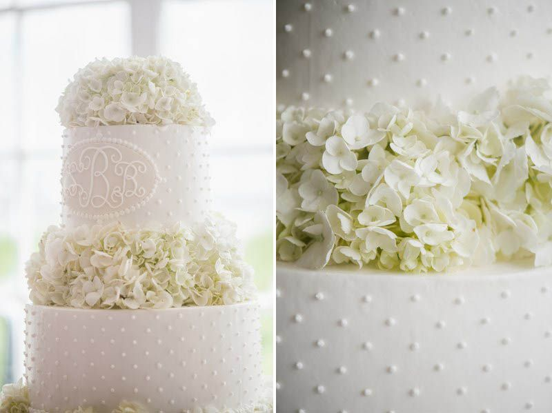 white hydrangea wedding cake pearl dot wedding cake charleston