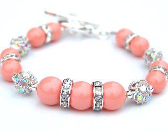 bracelet perle rose corail bijoux de demoiselle d honneur. Black Bedroom Furniture Sets. Home Design Ideas