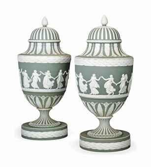 Jasperware vases circa 1870