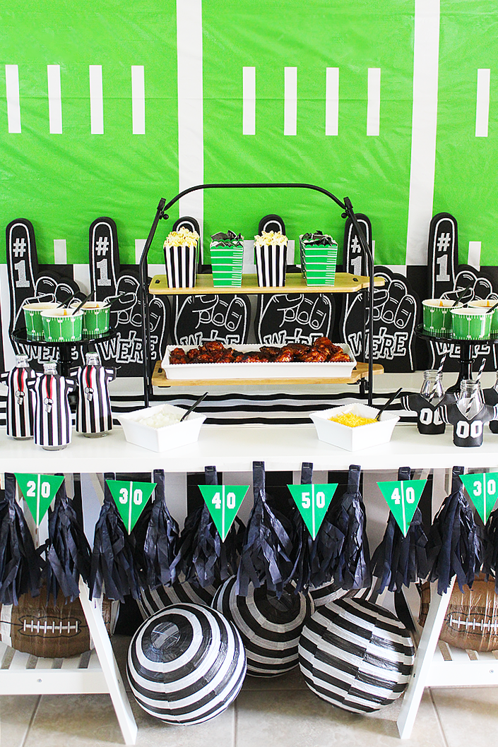 Black and White Football Party Ideas with Foam Fingers