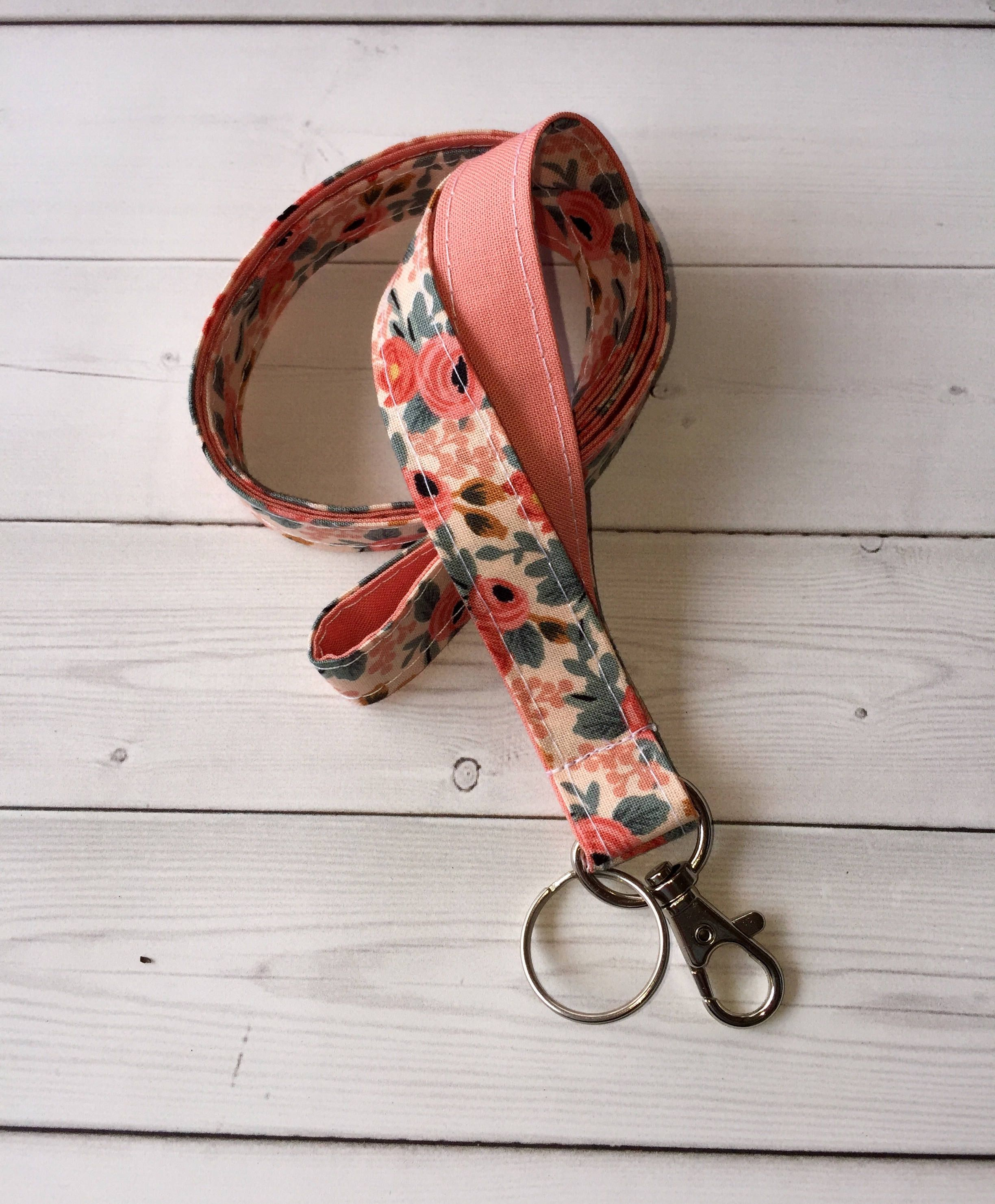 Pink Love You Valentines Day Handmade 1 Wide ID Lanyard with a Lobster Claw Clasp