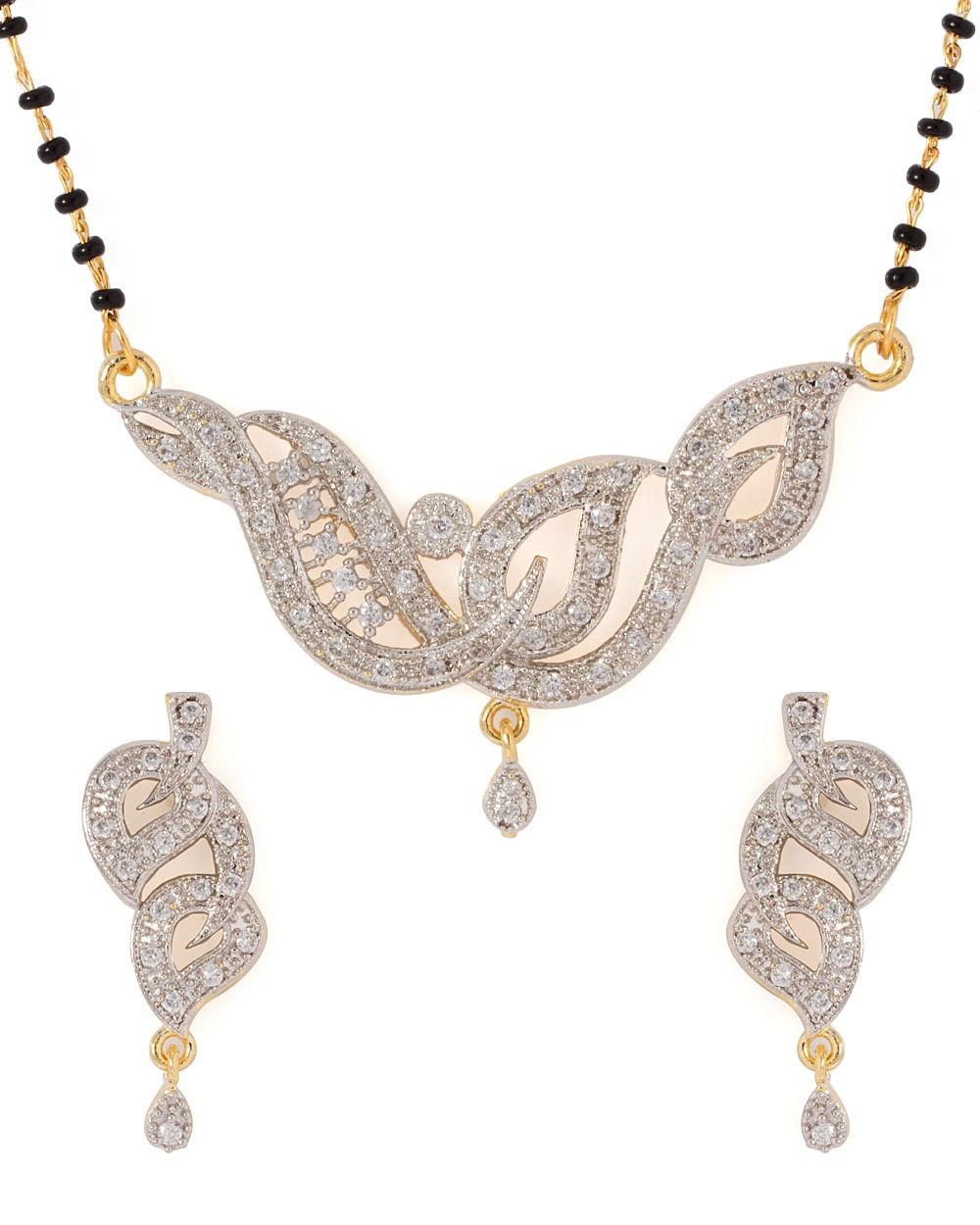 Cz embellished single string mangalsutra set jewels pinterest