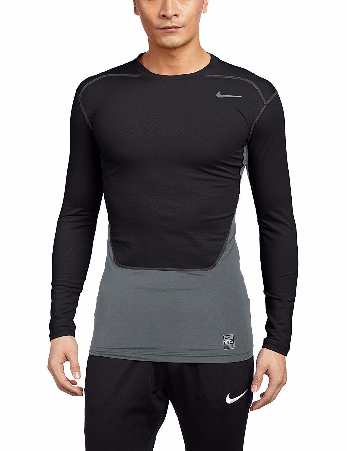 Gusseting And Ergonomic Seams Ensure A Full Range Of Unrestricted Movement With Dri Fit Technology To Wick Away Swe Compression Shirt Training Shirts Nike Men [ 1500 x 1154 Pixel ]