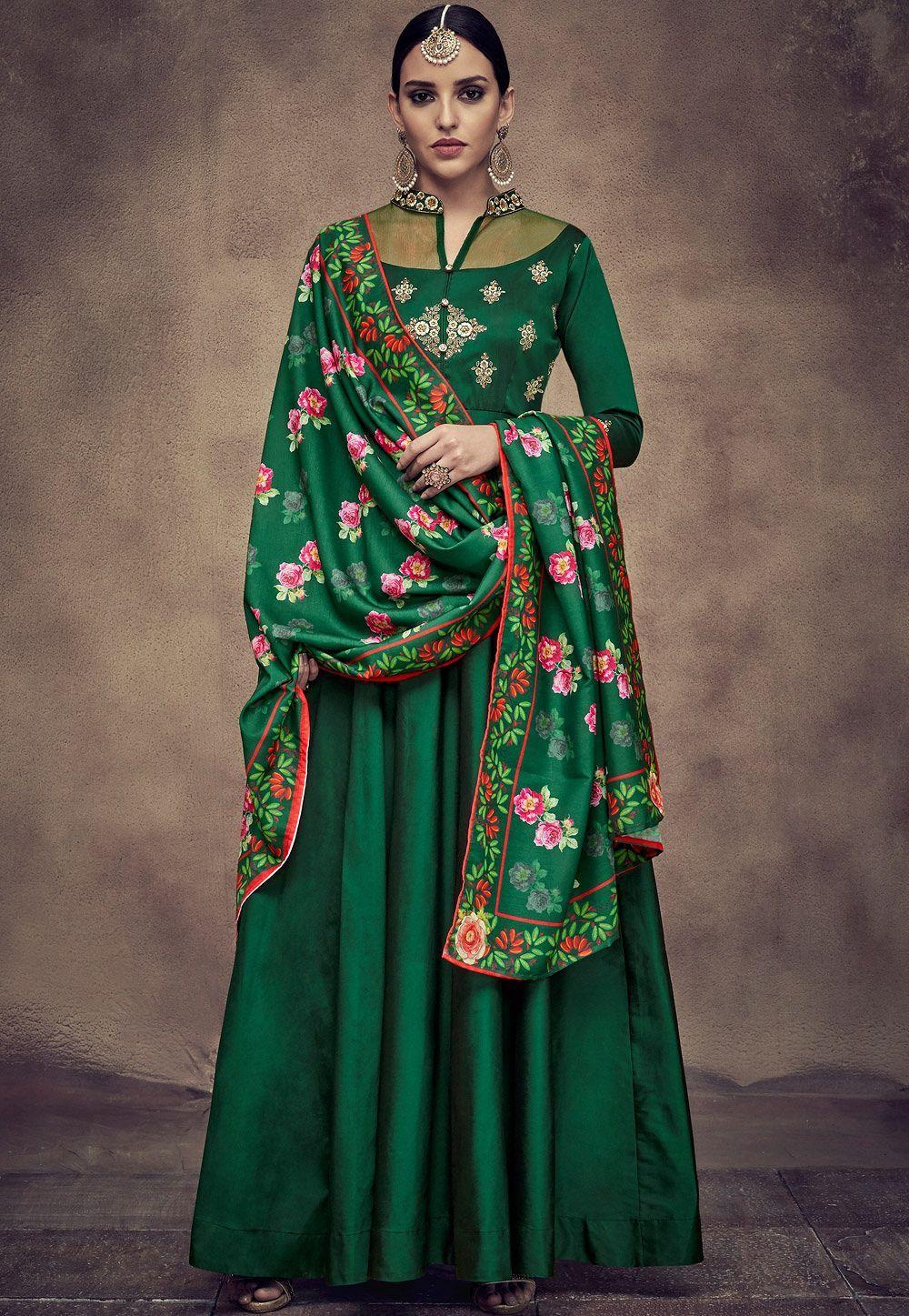 58c9023bc3 dark green tapeta and satin silk embroidered readymade anarkali gown 39014