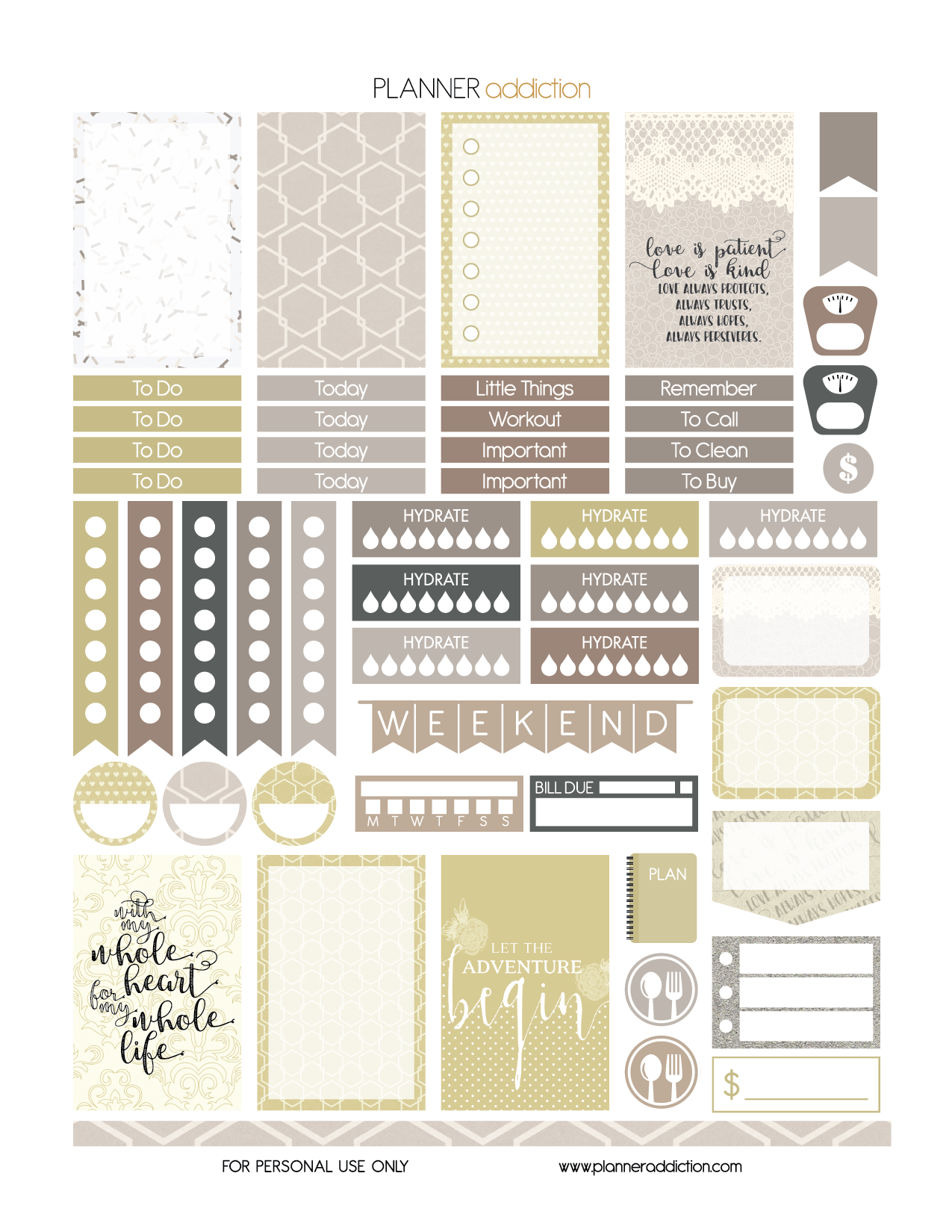 Free Printable Wedding Planner Stickers Page Two Pdf Jpg And