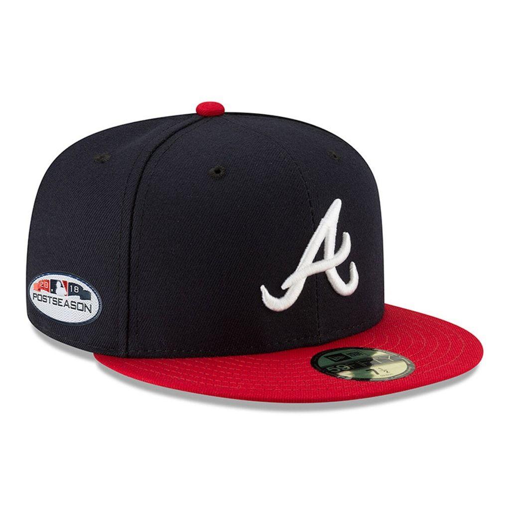 Men S New Era Navy Atlanta Braves 2018 Postseason Side Patch 59fifty Fitted Hat In 2020 Atlanta Braves Hat Atlanta Braves Fitted Hats