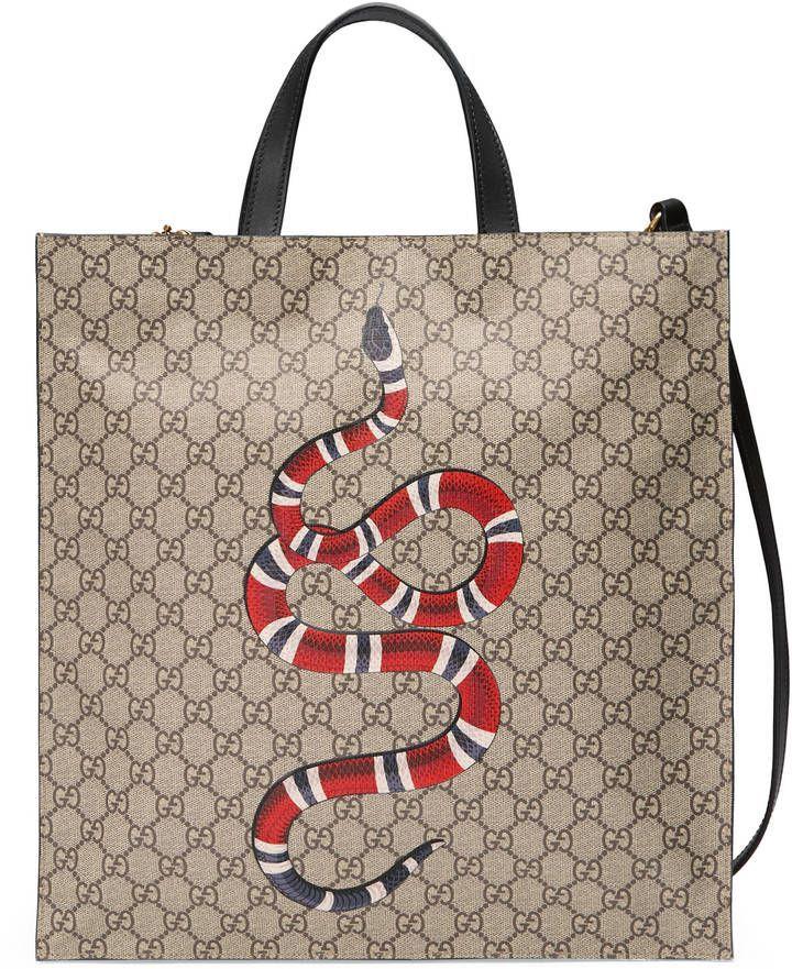 35ea865e4 Gucci Kingsnake print soft GG Supreme tote Gucci Snake Bag, Gucci Purses, Gucci  Handbags