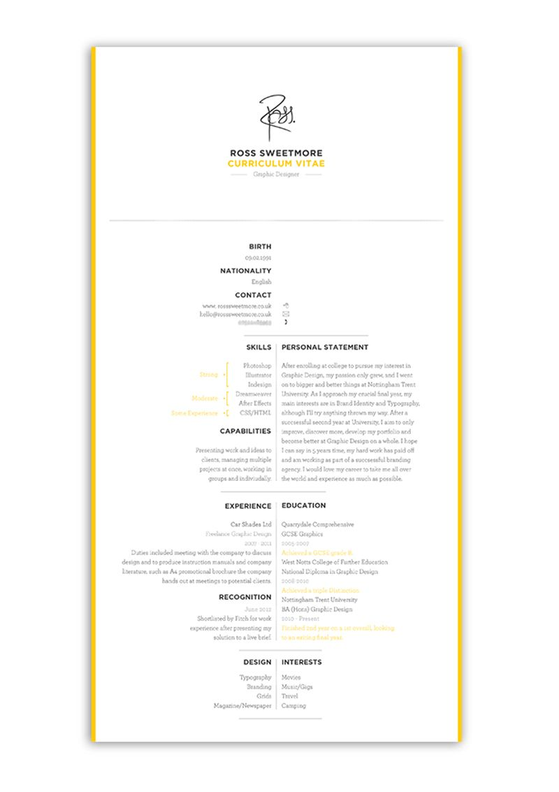 indesign cv resume inspiration personal brand ross sweetmore | DG ...