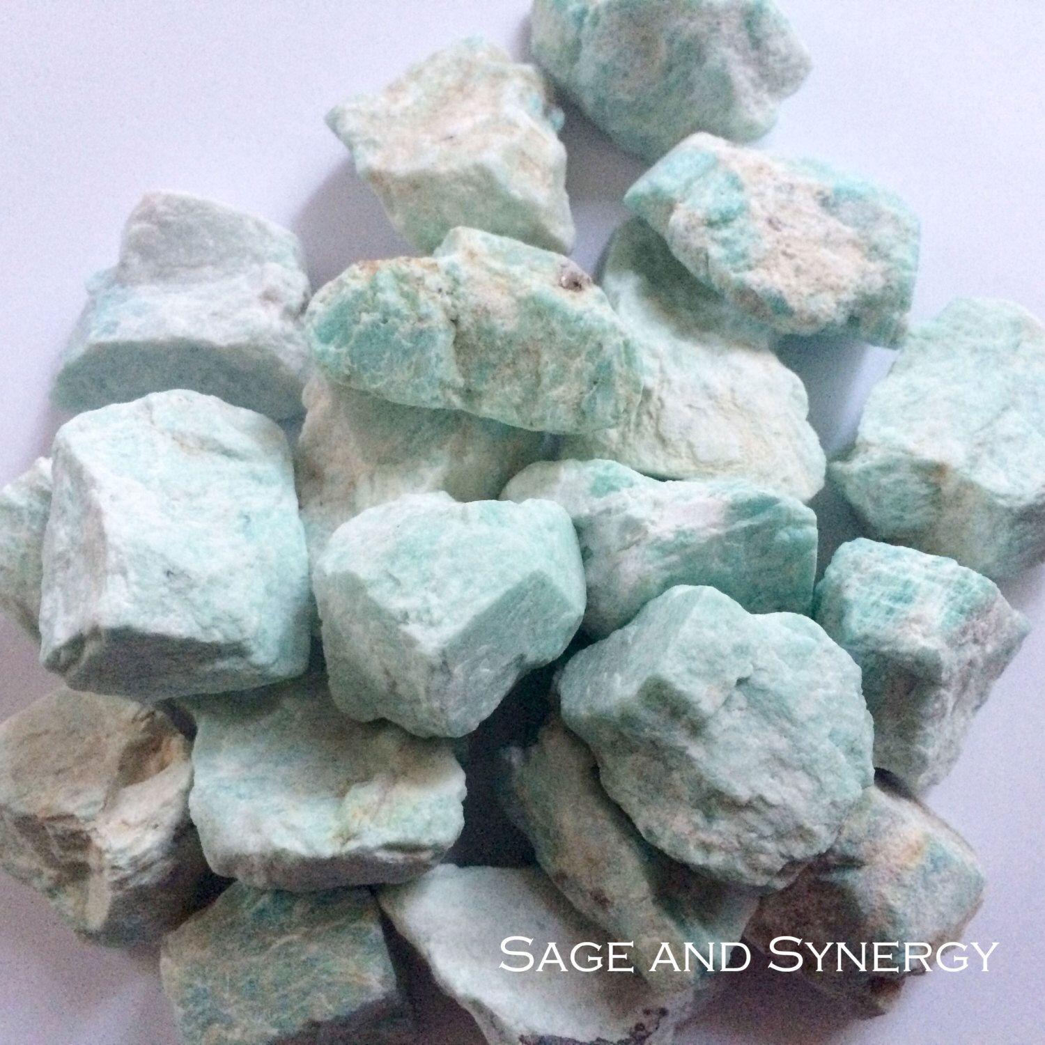 Raw Amazonite Stone Light Aqua Crystals Blue Rough Gemstone Raw