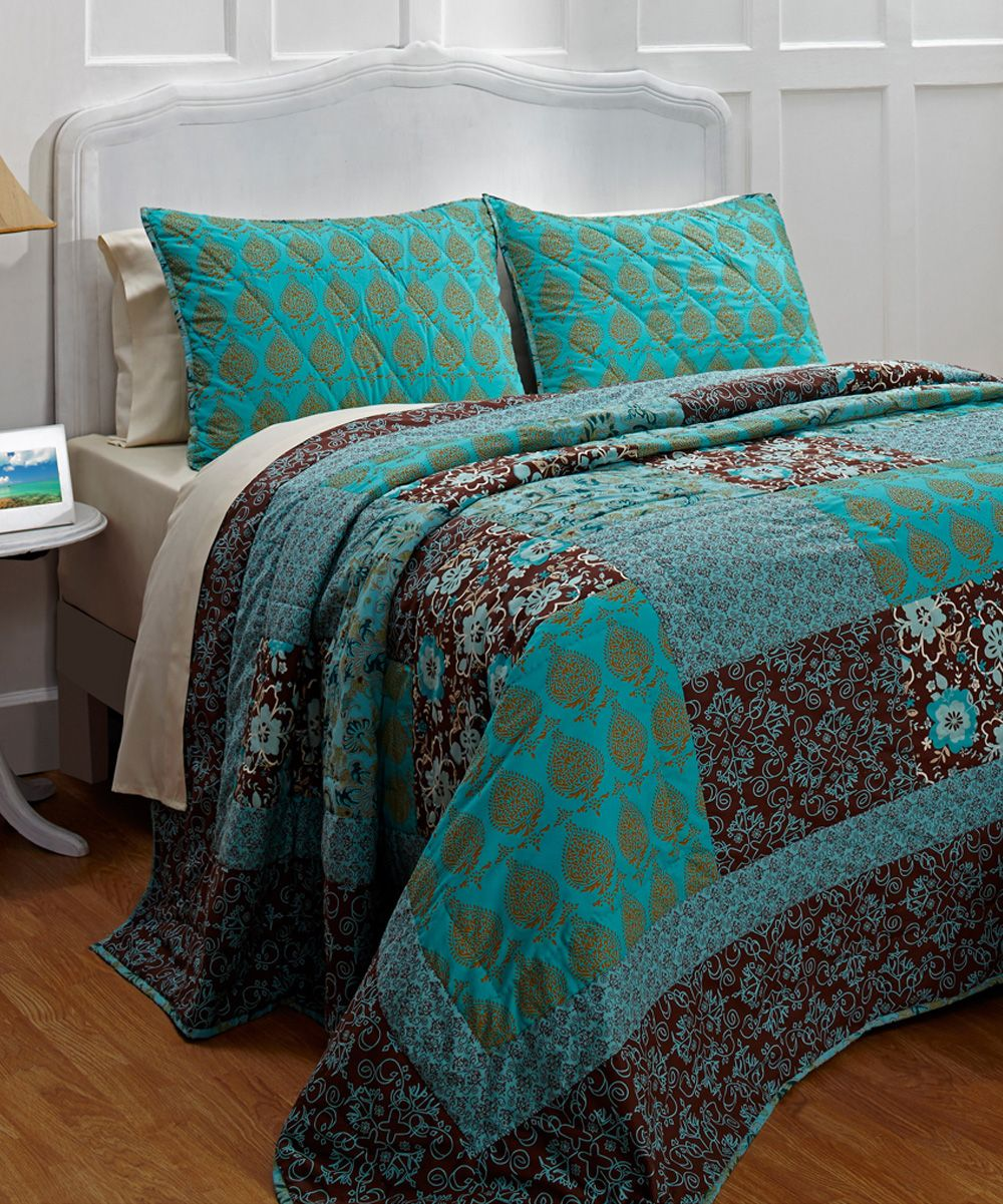 Turquoise, Brown Bedding And So Cute