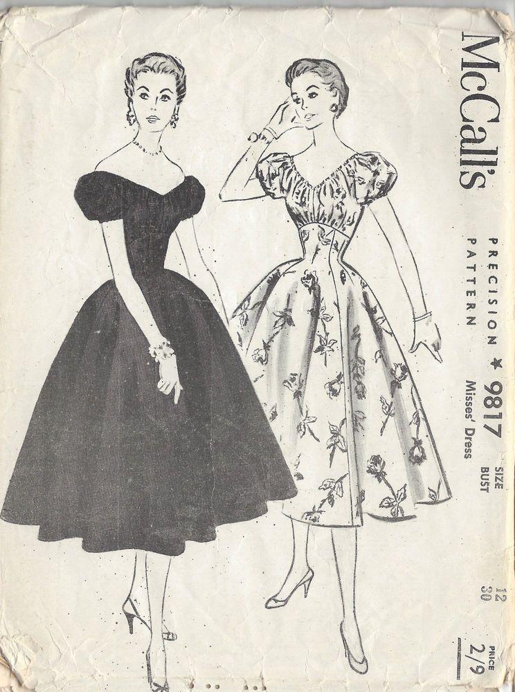 1950s Vintage Sewing Pattern B30 DRESS (1221) | Vintage sewing ...