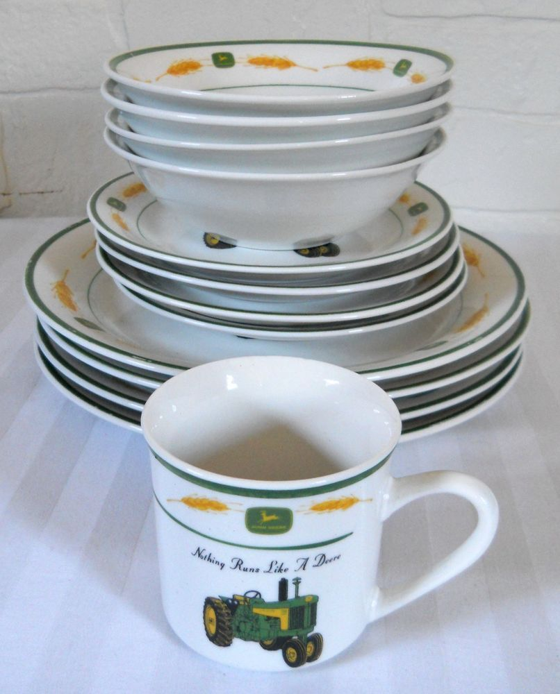 John Deere Dinnerware Dish Set 13 Pc Dinner Plate Mug Bowl Serving Gibson #southernhome #southernliving #southernhomedecor #farmhomedecor #farmhousedecor ... : john deere dinnerware - pezcame.com