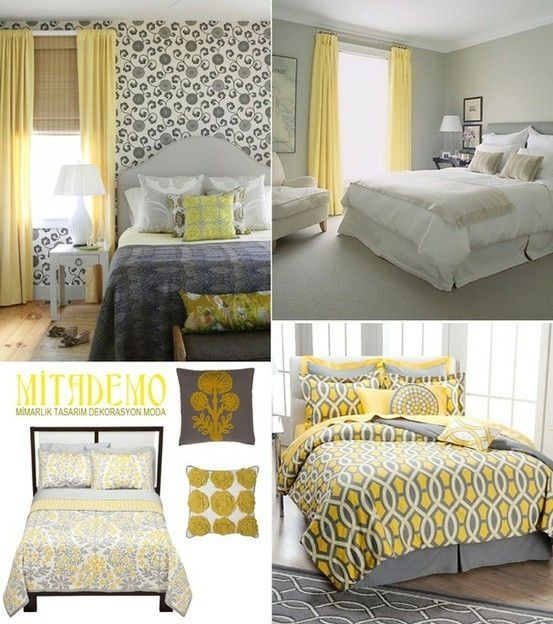 Awesome Grey With Yellow And Grey Bedroom