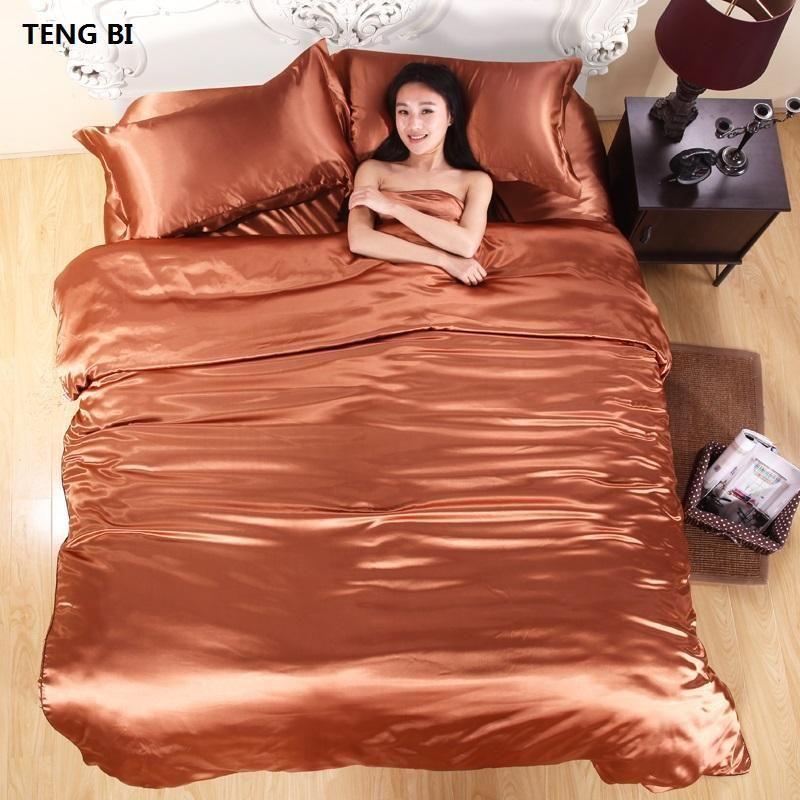 Hot! 100% Pure Satin Silk Bedding Set,Home Textile King