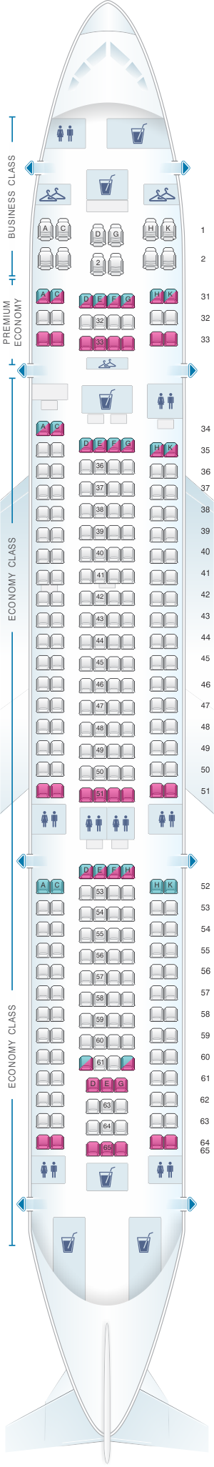 Seat Map China Southern Airlines Airbus A33G Air transat