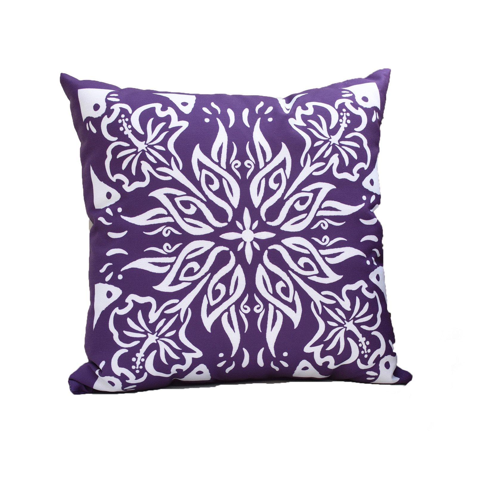 E By Design Cuban Tile 3 Geometric Print Outdoor Pillow Purple