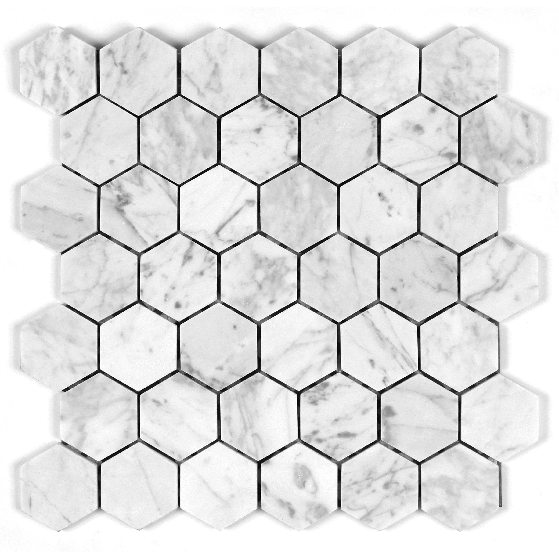 """Seven Seas Bianco Carrara 2"""" Honey Comb Mosaic Tile"""