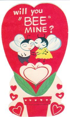 Cute Old Valentines Day Card For Children Featuring Two Bees Holding