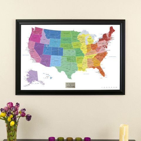 Colorful USA Travel Map with Black Frame Fun US wall map to pin